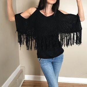 Sans Souci Cold Shoulder Black Fringe Sweater NWT